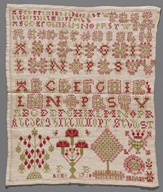 1750 Dutch embroidery sampler from Hindeloopen. Samplers were made by girls between 6 and 12 years. Until late in the 19th century, all textile was sewn at home, and decorated and marked for inventory with embroidery. Samplers on the appropriate stitching techniques were practiced before. Embroidering the alphabet also taught the girls to learn to read. They learned Gothic letters because the Bible was printed in this style. A sampler is not a folk art, but a learning tool.