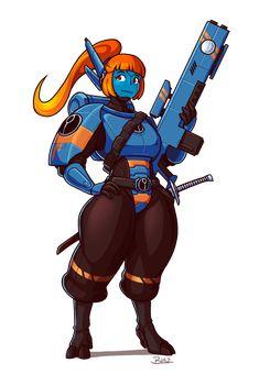 Shia by Blazbaros on DeviantArt Fantasy Character Design, Character Concept, Character Art, Concept Art, Warhammer 40k Art, Warhammer Fantasy, Empire Tau, Fire Warrior, Best Armor