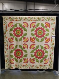 Floral Four-Block with Bird Border, circa 1850. .......Yep, on the list! SO beautiful! I love those birds in orange and red! Oh!