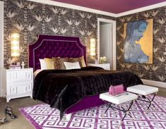 Large size of Purple Bedroom Tufted Headboard Oriental Pattern Rugs Purple Bed Frame Concrete Floor X Leg Ottomans Ornamental Wallpaper Woman Painting Dark Blanket Leopard Cushions White Wooden Nightstands Wall Sc Green And White Bedroom, Purple Bedroom Decor, Purple Bedding, Glam Bedroom, Small Room Bedroom, Bedroom Colors, Room Decor Bedroom, Leopard Bedroom, Bedroom Interiors