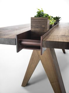 Rectangular solid wood table CANAL By Riva 1920 design Patricia Urquiola