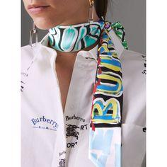 Écharpe fine en soie taguée (Multicolore) - Femme   Burberry Echarpe,  Foulard, f858184e5eb