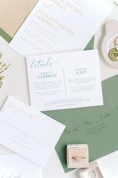Thermography Wedding Invitations for a modern wedding. These gold and green invitations can be customized to fit your wedding colors and vibe!