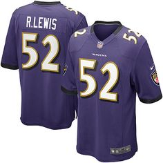 Men's Nike Baltimore Ravens Ray Lewis Game Team Color Jersey - NFLShop.com #RayLewis #52