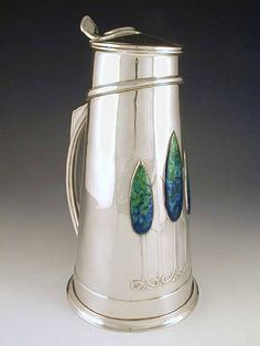 LIBERTY & Co. Magnificent polished pewter flagon w/ 3 large enamel inset plaques attributed to Charles Annesley VOYSEY. Fall Arts And Crafts, Arts And Crafts For Teens, Art And Craft Videos, Arts And Crafts House, Crafts For Boys, Arts And Crafts Movement, Toddler Crafts, William Morris, Art Nouveau