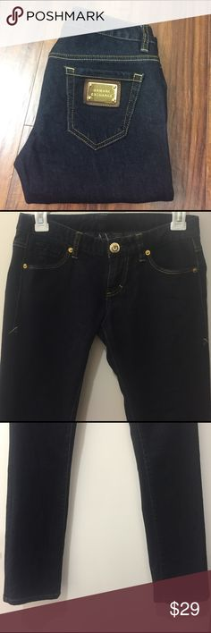 A|X Armani Exchange Skinny Jeans Armani Exchange dark blue skinny jeans. Gold with rhinestone front button and gold hardware on right back pocket. Size 0 Short. Inseam 29. Excellent used condition. A/X Armani Exchange Jeans Skinny