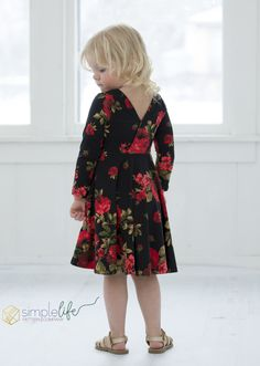 Knit Ayda's V Back Peplum & Dress. PDF sewing patterns for girls sizes 2t-12 - Simple Life Company