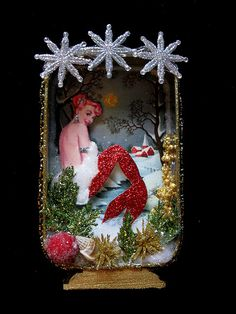Mermaid on Frozen Lake Shadow Box Altered Tins, Altered Art, Vintage Christmas, Christmas Crafts, Xmas, Christmas Ideas, Diy And Crafts, Arts And Crafts, Sea Crafts