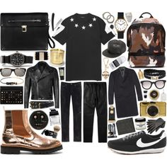 """""""MEN   Givenchy Star-Embellished Printed Cotton T-Shirt"""" by mauriciofredes on Polyvore"""