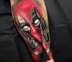 Deadpool tattoo by Daniel Bedoya Dream Tattoos, Cool Tattoos, Deadpool Tattoo, Handpoked Tattoo, Marvel Tattoos, Piercing Tattoo, Piercings, Leg Sleeves, World Tattoo