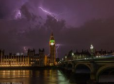 Political storm: Archie Baker took this outstanding photograph of lightning over Big Ben a...