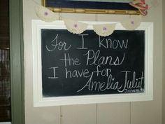 ~Amelia's Lavender Baptism ~ For I know the plans I have for Amelia Juliet Jeremiah 29:11 Chalkboard Saying and Coffee Stained Doily Lavender Rose Banner