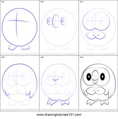 How to Draw Rowlet from Pokemon Printable Drawing Sheet by DrawingTutorials101.com