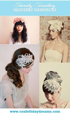 Trendy Tuesday: Heavenly Headpieces | Confetti Daydreams - Inspirational collection of VINTAGE BRIDAL HEADPIECES ♥ #Headpieces #Bridal #Hair #Accessories ♥  ♥  ♥ LIKE US ON FB: www.facebook.com/confettidaydreams  ♥  ♥  ♥
