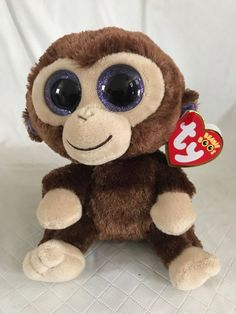 Ty Beanie Boos Coconut Monkey 36003 Brown Glitter Eyes Ages 3 2014 for sale online Ty Beanie Boos, Shrinky Dinks, Shopkins, Stuffed Toys, Plush Animals, Toy Sale, Age 3, Beanies, Keychains