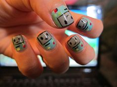 BMO from Adventure Time nail tutorial...could also be used for Gameboy Nails