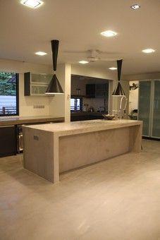 polished light concrete kitchen