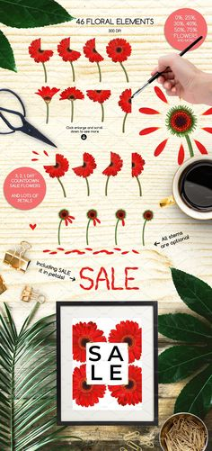 Floral Illustration SALE Advert Kit by Gina Heyer on Pink And White Background, Summer Poster, Day Countdown, Floral Illustrations, Tile Patterns, Pattern Wallpaper, Creative Design, Something To Do, Clip Art