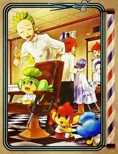 Pokemon Black & White - Brothers Cilan, Cress, and Chili at the barber shop. Pocket Monsters: Pansage, Pansear, Panpour. #PokemonBW #Cress, Chili #Cilan