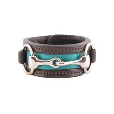 Two-Tone Leather Bit Bracelet in teal/brown   Rebecca Ray Designs