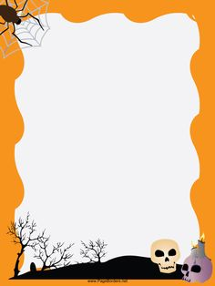 skull candles graveyard trees and a spider decorate an orange background in - Printable Halloween Writing Paper