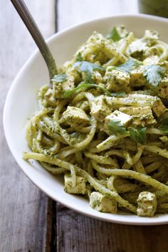Kale Pesto Pasta Bowl | In Pursuit Of More try this with the vegan feta-tofu recipe instead of plain tofu cubes