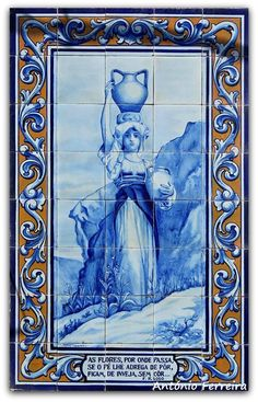 azulejos Portuguese Culture, Learn Portuguese, Portuguese Tiles, Tile Art, Mosaic Tiles, Tile Panels, Blue Tiles, Iron Work, Hand Painted Ceramics