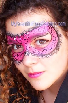 Face Painting Pink mask for Mardi Gras or Valentines day.