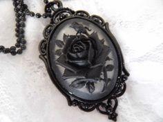 Clear Black Rose Flower Goth Steampunk by JroseBoutique2 on Etsy $10
