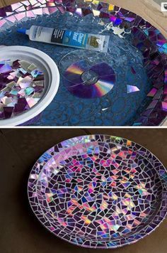 Use old DVD's as mosaic tiles and create a stunning work of art sealed with Envirotex Lite High Gloss resin finish. via Learn this fun using broken DVDs instead of This is an awesome DIy Diy Craft Projects, Fun Diy Crafts, Diy Arts And Crafts, Recycled Cd Crafts, Cd Diy, Diy Para A Casa, Crafty Craft, Crafting, Resin Crafts