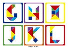 Tangram é um jogo divertido que estimula a memoria e a criatividade. Confira diversas sugestões de tangram para imprimir, e com modelos para colorir. Material Didático, Brain Teasers, Art Day, Activities For Kids, Origami, Art Projects, Alphabet, Opening Day, Creations