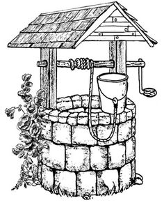 B-Line Designs - Cling Stamp - Wishing Well Wood Burning Stencils, Wood Burning Patterns, Wood Burning Art, Pencil Art Drawings, Easy Drawings, Drawing Sketches, Coloring Books, Coloring Pages, Colouring