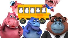 Bus School Learning Color w/ Squishy Dinosaurs Pig Cow and Monkey - Lear...