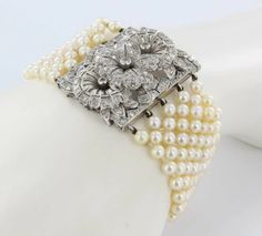 1920s-30s Vintage Platinum Cultured Pearl Diamond Bracelet Antique Fine Jewelry