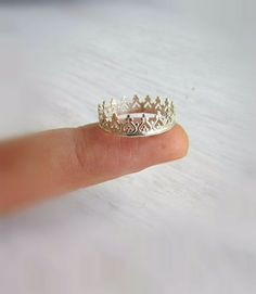 Silver crown ringprincess crown ringsterling silver by lunahoo