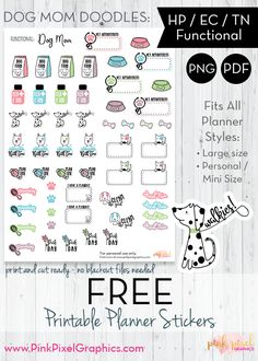 FREE Dog Mom Doodles - Planner Stickers: Download your free planner printables. These free sticker icons will fit just about any planner. See more at www.pinkpixelgraphics.com