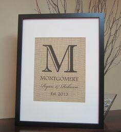 "Custom Burlap Wedding Gift - 8""x 10"" - Monogram, Name, Est. Date - Engagement, Shower, Wedding, Anniversary, Birth Announcement on Etsy, $20.00"