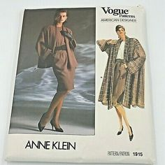 Unused and uncut Anne Klein flowing coat, top, skirt and jacket pattern 1915 for sizes Vogue Patterns, Coat Patterns, Simplicity Sewing Patterns, Vintage Sewing Patterns, Junior Shirts, Jacket Pattern, Vintage Vogue, Vogue Paris, Anne Klein