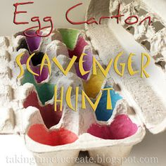 Taking Time To Create: Keep 'Em Busy: Camping {Scavenger Hunt}.I like the idea of the egg carton to keep 'treasures' contained. Physical Activities For Toddlers, Easter Activities, Color Activities, Camping Activities, Educational Activities, Camping Ideas, Outdoor Activities, Art For Kids, Crafts For Kids