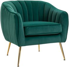 HOMCOM Velvet Armchair Tub chair with Golden Metal Leg Living Room Furniture Green: Amazon.co.uk: Kitchen & Home Living Room Chairs, Living Room Furniture, Dining Room, Living Area, Poltrona Vintage, Single Sofa Chair, High Back Armchair, Storage Ottoman Bench, Velvet Armchair