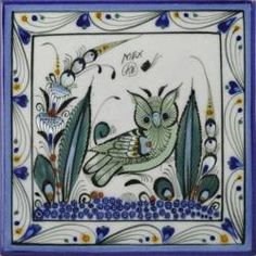 Green Owl 1 - Handcrafted Ken Edwards Stoneware Mexican Tile