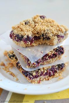 Skinny Blueberry Crumble Bars - a light crust, a layer of blueberries and a crumble topping. So delicious!
