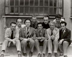 The surrealist group in Paris, circa 1930.   From left to right: Tristan Tzara, Paul Eluard, Andre Breton, Hans Arp, Salvador Dali, Yves Tanguy, Max Ernst, Rene Crevel and Man Ray.