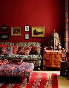 This bohemian living room sets funky fabrics and a fancy bird cage against beautiful red walls. Bohemian House, Bohemian Living, Bohemian Interior, Bohemian Room, Bohemian Apartment, Gypsy Living, White Bohemian, Bohemian Design, Bohemian Gypsy