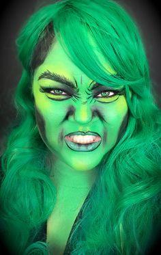 or Used: , bronze palette and lashes in bell! Superhero Makeup, Superhero Pop Art, Hulk Face Painting, Body Painting, Pop Art Makeup, Fx Makeup, She Hulk Costume, Halloween Ideas, Halloween Face Makeup