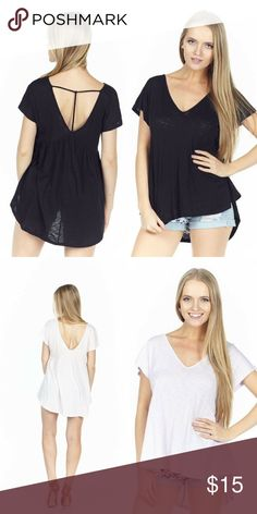 T-Back Low Cut Hi-Low Top Casual flirty fun, hi-low short sleeve top with a swing silhouette and a t-strap back in a lightweight cotton modal slub knit.       55%Cotton/45%Modal.      Color-Black & Cream Classic Paper Doll Tops Tees - Short Sleeve