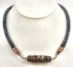 Copper and Blue Necklace with Colorful Lampwork Glass Focal Bead by Sweet Freedom Designs