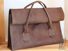 Leather bag - Travel bag - Handmade - Brown leather - Briefcase