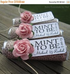 "ON SALE Wedding favors - Set of 100 mint rolls - ""Mint to be"" favors with personalized tag - burlap, pale pink, rose, rustic, shabby chic"