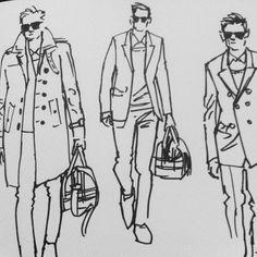 Burberry Prorsum sketches from Milan Men's Fashion Week